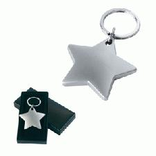 Star Shaped Keyring With Logo