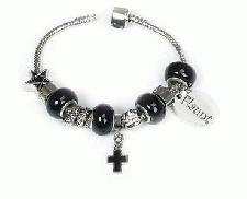Pandora Style Bracelet - Silver & Black