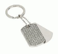 Personalised Diamante Dog Tag Keyring