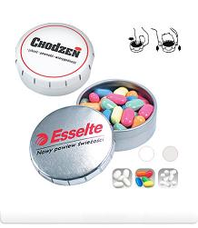 Tins of mints with logo