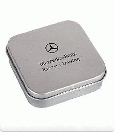 Mints in mini hinged tins with logo