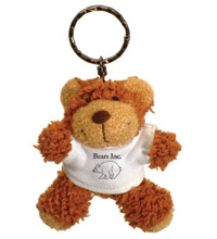 Personalised Buster Bear Keyring with Advertising T-Shirt